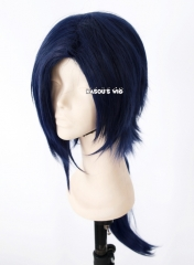DMMD / Dramatical Murder Koujaku 70cm long side parted bangs black blue ponytail cosplay wig