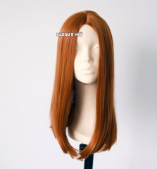 Captain America  Natasha Romanoff . Black Widow 45cm long central parted straight smooth orange brown cosplay wig