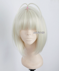 SALE! Ao No Exorcist / Blue Exorcist Moriyama Shiemi platinum blonde short bob cosplay wig with blunt cut bangs
