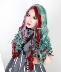 "SALE! 90cm / 35.5"" Ever After High Maddie Hatter long teal . fuchsia ombre wave cosplay wig"