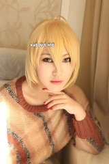 Fate / Zero Saber blonde pre-styled cosplay wig with bun