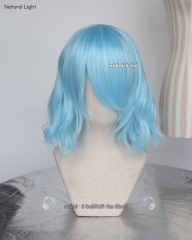 S-4 / KA046 light blue loose beach waves lolita . harajuku wig with bangs .35cm .
