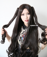 "90cm / 35.5"" Fate stay night Rin Tohsaka long body wave cosplay wig with 2 curly ponytail clips . women hair . lolita wig"