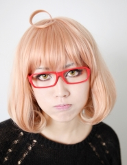 Kyoukai no kanata Kuriyama Mirai short bob peach pink cosplay wig with ahoge . cute wig for lolita . ( SP20 )