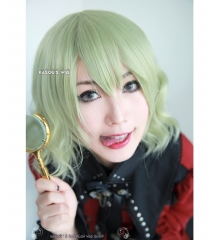 S-4 / SP36 Chartreuse . Pastel green loose loose beach waves lolita . harajuku wig with bangs .35cm