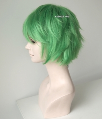 "S-1 / KA060>>31cm / 12.2"" short light green layered wig, easy to style,Hiperlon fiber"