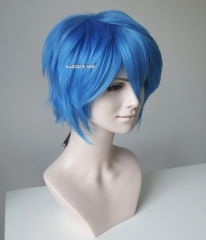 "S-1 / KA048>>31cm / 12.2"" short dodger blue layered wig, easy to style,Hiperlon fiber"