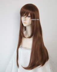 L-2 / KA026 Walnut Brown 75cm long straight wig . Hiperlon fiber