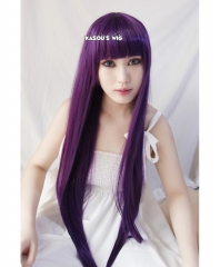 "100cm / 39.5"" Inu x Boku SS Shirakiin Ririchiyo long grape purple straight cosplay wig with neat bangs . women hair"