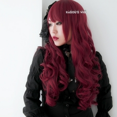 L-1 / KA043 Carmine red 75cm long curly wig . Hiperlon fiber