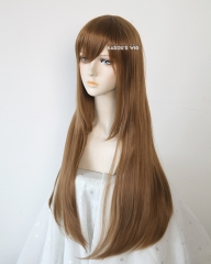 L-2 / KA024  light brown 75cm long straight wig . Hiperlon fiber