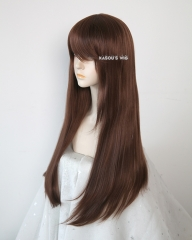L-2 / KA027 Coffee Brown 75cm long straight wig . Hiperlon fiber