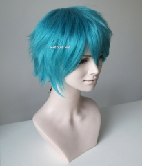 "S-1 / KA059>>31cm / 12.2"" short teal blue green layered wig, easy to style,Hiperlon fiber"