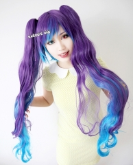 "100cm / 39.5"" Vocaloid Hatsune Miku  anti the holic version purple blue ombre . multi colors. long wave curly cosplay wig . lolita wig ."