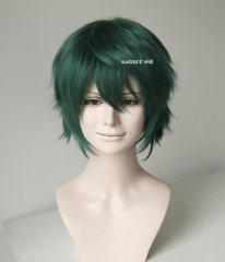 "S-1 / KA065>>31cm / 12.2""  short dark olive green layered wig, easy to style,Hiperlon fiber"