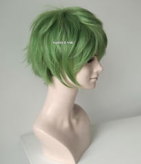 "S-1 / KA061>>31cm / 12.2"" short moss green layered wig, easy to style,Hiperlon fiber"
