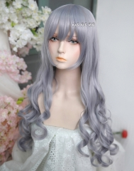 L-1 / SP26 silver Lavender 75cm long curly wig . Tangle Resistant fiber