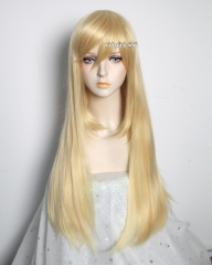 L-2 / KA008 yellow blonde 75cm long straight wig . Hiperlon fiber