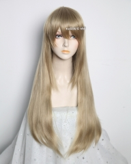 L-2 / KA016 tanned blonde 75cm long straight wig . Hiperlon fiber