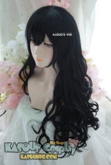 L-1 / KA032 jet black 75cm long curly wig . Hiperlon fiber