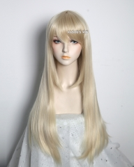 L-2 / KA006 light blonde 75cm long straight wig . Hiperlon fiber