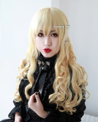 L-1 / KA008 yellow blonde 75cm long curly wig . Hiperlon fiber
