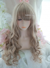 L-1 / KA015 ash blonde 75cm long curly wig . Hiperlon fiber