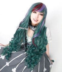 "100cm / 39.5""  Monster High Twyla long green . fuchsia.purple highligh wave cosplay wig with short bangs . lolita hair"