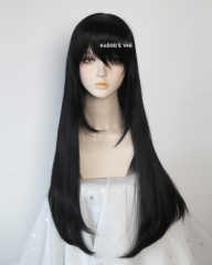 Maid Dragon Fafnir L-2 / KA032 Jet Black 75cm long straight wig . Hiperlon fiber
