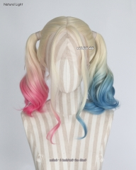 Lace Front>Suicide Squad Harley Quinn pastel pink blue two tone wig with full curly twin tails. hand dyed with fabric dyes.