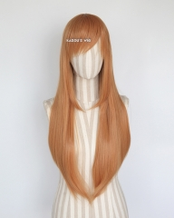 L-2 / SP19 pastel orange 75cm long straight wig . Tangle Resistant fiber