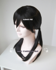 SALE! Cute 70cm long pigtails  black wig with short bangs .suitable for daily wear
