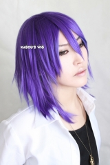 Kuroko no basketball . KNB Murasakibara Atsushi 43cm medium layers purple cosplay wig with short bangs