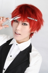 Kuroko no Basketball / KNB Seijuro Akashi short layers dark red cosplay wig with short bangs . KA042