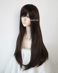L-2 / KA030 Darkest Brown 75cm long straight wig . Hiperlon fiber