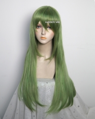 L-2 / KA061 moss green 75cm long straight wig . Hiperlon fiber
