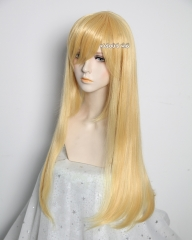 L-2 / SP01 pastel yellow blonde 75cm long straight wig . Tangle Resistant fiber