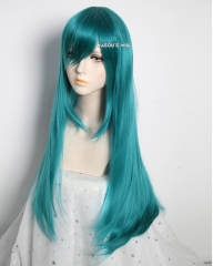 L-2 / KA063 pine green 75cm long straight wig . Hiperlon fiber
