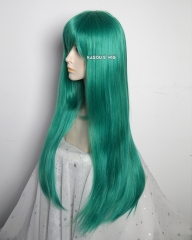 L-2 / KA062 emerald green 75cm long straight wig . Hiperlon fiber