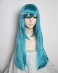 L-2 / KA059 teal blue green 75cm long straight wig . Hiperlon fiber