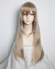 L-2 / KA015 ash blonde 75cm long straight wig . Hiperlon fiber