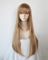 L-2 / KA017 dark natural blonde 75cm long straight wig . Hiperlon fiber