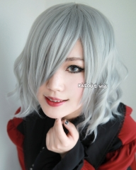 Hunter x Hunter Neferpitou S-4 / KA003 light gray loose beach waves lolita . harajuku wig with bangs .35cm .