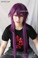 "100cm / 39.5"" Magi  The labyrinth of magic Sinbad long straight grape purple cosplay wig SP40"