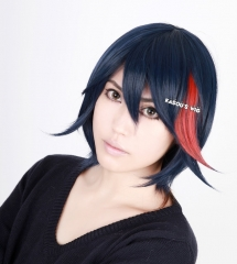 Kill la Kill Matoi Ryuko dark blue with highlighted red 38cm short layers cosplay wig ( SP10 )