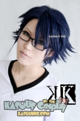 K project Fushimi Saruhiko short layers dark blue pre-styled side parted cosplay wig