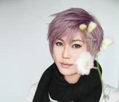 "S-1 / KA037A >>31cm / 12.2""  short dusty purple layered wig, easy to style,Hiperlon fiber"