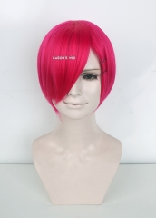 S-2 /  KA038 Raspberry rose short bob smooth cosplay wig with long bangs . Hiperlon fiber