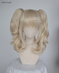 Harley Quinn blonde cosplay wig with two curly clips . lolita hair ( KA006)