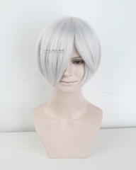 S-2 / KA002 silver white short bob smooth cosplay wig with long bangs . Hiperlon fiber